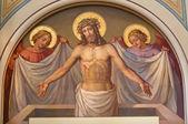 维也纳,奥地利-2014 年 2 月 17 日: 复活的基督,在 dobling 从 20 开始罗会教堂壁画。%。由约瑟夫 ・ 卡斯特纳. — 图库照片