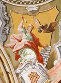 SAINT ANTON, SLOVAKIA - FEBRUARY 26, 2014: Saint John the Evangelist fresco from ceiling of chapel in Saint Anton palace by Anton Schmidt from years 1750 - 1752. — Stock Photo