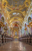 VIENNA, AUSTRIA - JULY 3 2013: Nave of baroque Jesuits church. The church was built between 1623 and 1627. — Stock Photo