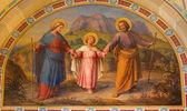 VIENNA, AUSTRIA - FEBRUARY 17, 2014: Fresco of Holy Family by Josef Kastner from 1906 - 1911 in Carmelites church in Dobling. — Stock Photo