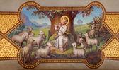VIENNA, AUSTRIA - FEBRUARY 17, 2014: Fresco of little Jesus as good shepherd by Josef Kastner 1906 - 1911 in Carmelites church in Dobling. — Stock Photo