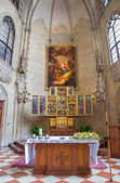VIENNA, AUSTRIA - FEBRUARY 17, 2014: Church of the Teutonic Order or Deutschordenkirche eith the gothic carved wings altar from year 1520 primarily from Mechelen. — Stock Photo