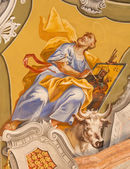 SAINT ANTON, SLOVAKIA - FEBRUARY 26, 2014: Saint Luke the Evangelist fresco from ceiling of chapel in Saint Anton palace by Anton Schmidt from years 1750 - 1752. — Stock fotografie
