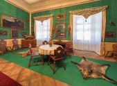 SAINT ANTON, SLOVAKIA - FEBRUARY 26, 2014: Tyrols hunter eating room in palace Saint Anton from 19. cent.. — Stock Photo