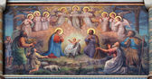 VIENNA, AUSTRIA - FEBRUARY 17, 2014: Fresco of Nativity scene by Josef Kastner from 1906 - 1911 in Carmelites church in Dobling. — Stock Photo