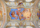 VIENNA, AUSTRIA - FEBRUARY 17, 2014: Virgin Mary in heaven. Central fresco on the ceiling of baroque st. Annes church by Daniel Gran from year 1751. — Stock Photo