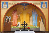 VIENNA, AUSTRIA - FEBRUARY 17, 2014: Jesus with the Moses and Eliah fresco by P. Verkade (1927) from side altar in Carmelites church in Dobling. — Stock Photo