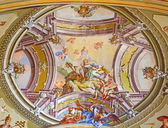 SAINT ANTON, SLOVAKIA - FEBRUARY 26, 2014: Ceiling of chapel in Saint Anton palace with the frescoes by Anton Schmidt from years 1750 - 1752. Assumption of Virgin Mary. — Stock Photo