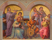 VIENNA, AUSTRIA - FEBRUARY 17, 2014: Choir of holys in the heaven by Josef Kastner from 1906 - 1911 in Carmelites church in Dobling. — Stock Photo