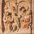 VIENNA, AUSTRIA - FEBRUARY 17, 2014: Medieval reliefs of Jesus for Pilate scene from St. Stephens cathedral or Stephansdom. — Stock Photo