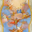 ������, ������: VIENNA AUSTRIA FEBRUARY 17 2014: Virgin Mary in heaven Fresco over presbytery on the ceiling of baroque st Annes church by Daniel Gran from year 1751