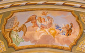 SAINT ANTON, SLOVAKIA - FEBRUARY 26, 2014: Choir of angels fresco from ceiling of chapel in Saint Anton palace by Anton Schmidt from years 1750 - 1752. — Stock Photo