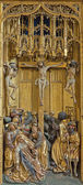 VIENNA, AUSTRIA - FEBRUARY 17, 2014: Crucifixion panel as detail from gothic carved wings altar in Church of the Teutonic Order or Deutschordenkirche from year 1520 	primarily from Mechelen. — Stock Photo