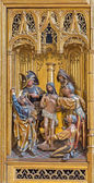 VIENNA, AUSTRIA - FEBRUARY 17, 2014: Flagellation of Jesus panel as detail from gothic carved wings altar in Church of the Teutonic Order or Deutschordenkirche from year 1520 primarily from Mechelen. — Stock Photo