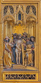 VIENNA, AUSTRIA - FEBRUARY 17, 2014: Jesus from Pilate panel as detail from gothic carved wings altar in Church of the Teutonic Order or Deutschordenkirche from year 1520 primarily from Mechelen. — Stock Photo