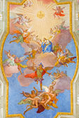 VIENNA, AUSTRIA - FEBRUARY 17, 2014: Virgin Mary in heaven. Fresco over presbytery on the ceiling of baroque st. Annes church by Daniel Gran from year 1751. — Stock Photo