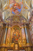 VIENNA, AUSTRIA - FEBRUARY 17, 2014: Main altar of baroque st. Annes church with the paint and fresco by Daniel Gran. — Stock Photo