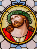 "VIENVIENNA, AUSTRIA - FEBRUARY 17, 2014: Jesus Christ with the crown of thorns from windowpane in Carmelites church in Dobling by ""Geyling"" workroom from the beginning of the 20. cent. — Stock Photo"