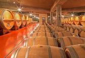 "TRNAVA, SLOVAKIA - MARCH 3, 2014: Indoor of modern wine cellar of great Slovak producer ""Mrva and Stanko"". — Stock Photo"