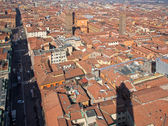 Bologna - Outlook from Torre Asinelli to Saint Peters church in morning — Stock Photo