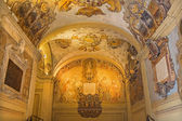 BOLOGNA, ITALY - MARCH 15, 2014: Ceiling and walls of external atrium of Archiginnasio. — Stok fotoğraf