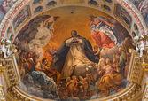 """BOLOGNA, ITALY - MARCH 16, 2014: Fresco of """"Gloria di San Domenico"""" (Glory of st. Dominic) by di Guido Reni (1575 - 1642) in side chapel of Saint Dominic or San Domenico baroque church. — Stock Photo"""