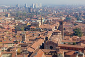Bologna - Look down from Torre Asinelli to church of Giacomo Maggiore. — Stock Photo