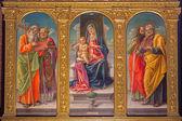 VENICE, ITALY - MARCH 12, 2014: Madonna on the tron and saints by Bartolomeo Vivarini (1430 - 1499) in Cappella Bernardo and church Basilica di Santa Maria Gloriosa dei Frari. — Stock Photo