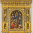 Постер, плакат: BOLOGNA ITALY MARCH 16 2014: Main renaissance altar by Girolamo da Sermoneta from yer 1548 with the Madonna on the tron and saints in church San Martino