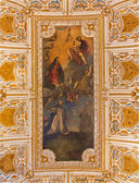 "VENICE, ITALY - MARCH 12, 2014: Ceiling of sacristy of Basilica di san Giovanni e Paolo church. Central motive -  ""Allegory of Fame"" by Palma il Giovane from 17. cent. — Stock Photo"