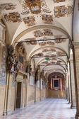 BOLOGNA, ITALY - MARCH 15, 2014: External atrium of Archiginnasio — 图库照片