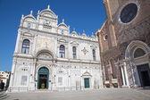 Venice - Scuola Grande di San Marco and partal of Basilica di san Giovanni e Paolo church. — Stock Photo