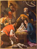 BOLOGNA, ITALY - MARCH 16, 2014: The Adoration of the Shepherds paint from Chapel of Nativity by Giacomo Cavedoni (1577 - 1660) in  Saint Paul or Chiesa di San Paolo baroque church. — Stock Photo