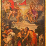 Постер, плакат: BOLOGNA ITALY MARCH 16 2014: Baptism of Christ scene by Annibale Carracci 1560 1609 in Chiesa di San Gregorio e San Siro