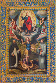 BOLOGNA, ITALY - MARCH 16, 2014 The Archangel Michael and st. Dominic and st. Francis and Jesus the Pantokrator in church Chiesa di San Domneico - Saint Dominic by Giacomo Francia (1486 - 1557). — Stock Photo