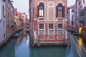 Venice - Canal in morning from Ponte del Fontego bridge — Stock Photo