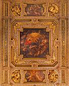 """Bolonha, Itália - 15 de março de 2014: teto do """"Oratório de batutti"""", de 17. Cent. no complexo do barroco da igreja santa maria della vita. — Fotografia Stock"""