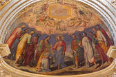 BOLOGNA, ITALY - MARCH 15, 2014: Fresco in main apse of Dom - Saint Peters baroque church by Cesare Fiorini e Cesare Aretusi 16. cent. Christ give the symbolic keys to st. Peter. — Stock Photo