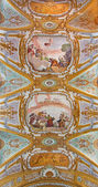 VENICE, ITALY - MARCH 13, 2014: Ceiling fresco of church Chiesa dei Gesuiti (Santa Maria Assunta) with the Assumption of Virgin Mary scene in the center. — Stock Photo