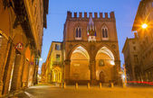Bologna - Gothic palace - Palazzo della Mercanzia in morning dusk. — Stock Photo