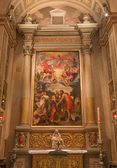 BOLOGNA, ITALY - MARCH 16, 2014: Side altar of Chiesa di San Gregorio e San Siro with the Baptism of Christ scene by Annibale Carracci. — Stock Photo