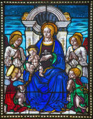 BOLOGNA, ITALY - MARCH 16, 2014: Madonna from windowpane of church San Giovanni in Monte. — Stock Photo