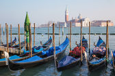 Venice - gondolas and San Giorgio Maggiore church — Stock Photo