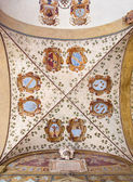 BOLOGNA, ITALY - MARCH 15, 2014: Ceilinig fresco in external atrium of Archiginnasio — Stock Photo