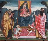 TREVISO, ITALY - MARCH 18, 2014: Madonna with the child and apostles st. Peter and Paul by A. Vivarini from 15. cent. in saint Nicholas or San Nicolo church. — Stock Photo