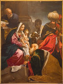 BOLOGNA, ITALY - MARCH 16, 2014: Adoration of Magi paint from Chapel of Nativity by Giacomo Cavedoni (1577 - 1660) in  Saint Paul or Chiesa di San Paolo baroque church. — Stock Photo