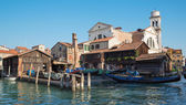 VENICE, ITALY - MARCH 13, 2014: Dock for repair of gondolas near church Chiesa San Sebastiano. — Stock Photo