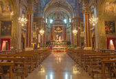 BOLOGNA, ITALY - MARCH 16, 2014: Main nave of  Saint Paul or Chiesa di San Paolo baroque church. — Stock Photo