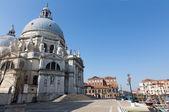 Venice - Santa Maria della Salute church and waterfront of Canal Grande — Stock Photo