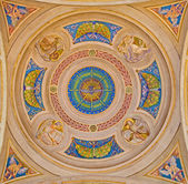 BOLOGNA, ITALY - MARCH 15, 2014: Cupola of side chapel in Dom - Saint Peters baroque church with the symbols of four Evangelist. — Stock Photo